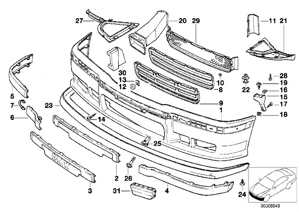 fs e36 front bumper pork chop supports pelican parts. Black Bedroom Furniture Sets. Home Design Ideas