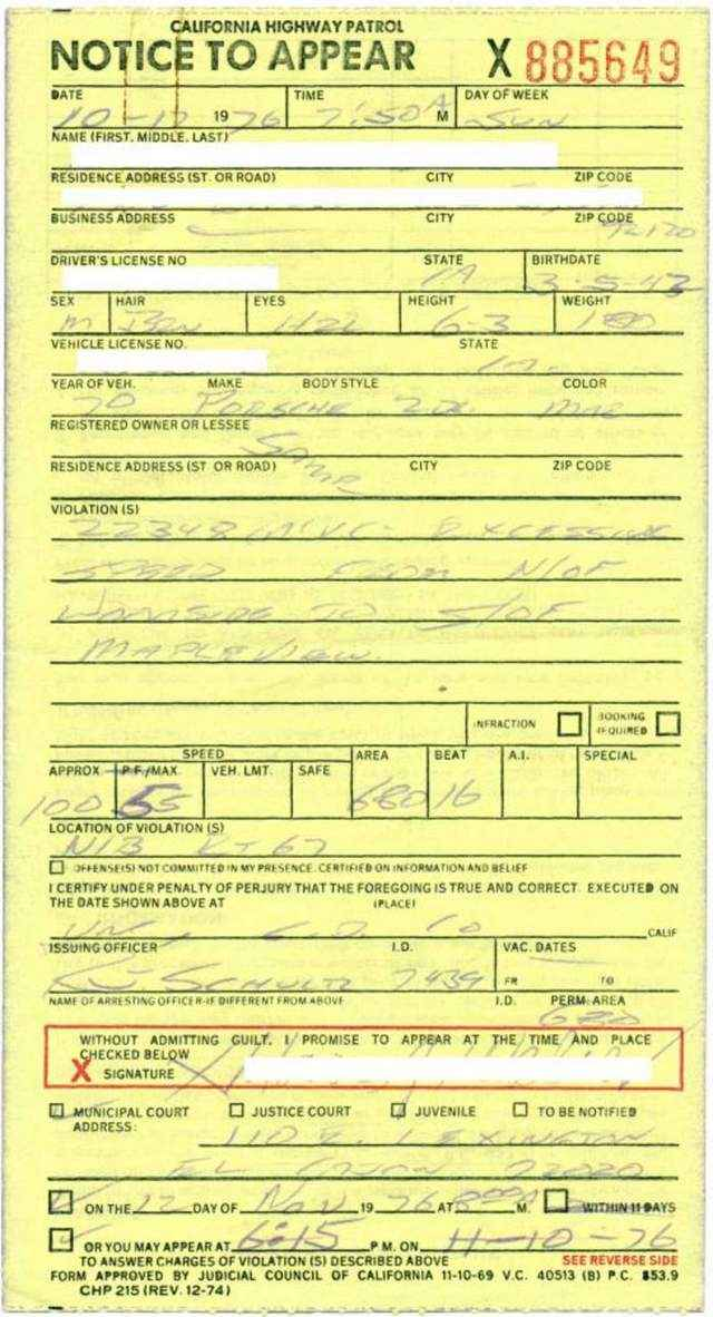 post your most memorable 911 ticket page 2 pelican parts forums. Black Bedroom Furniture Sets. Home Design Ideas