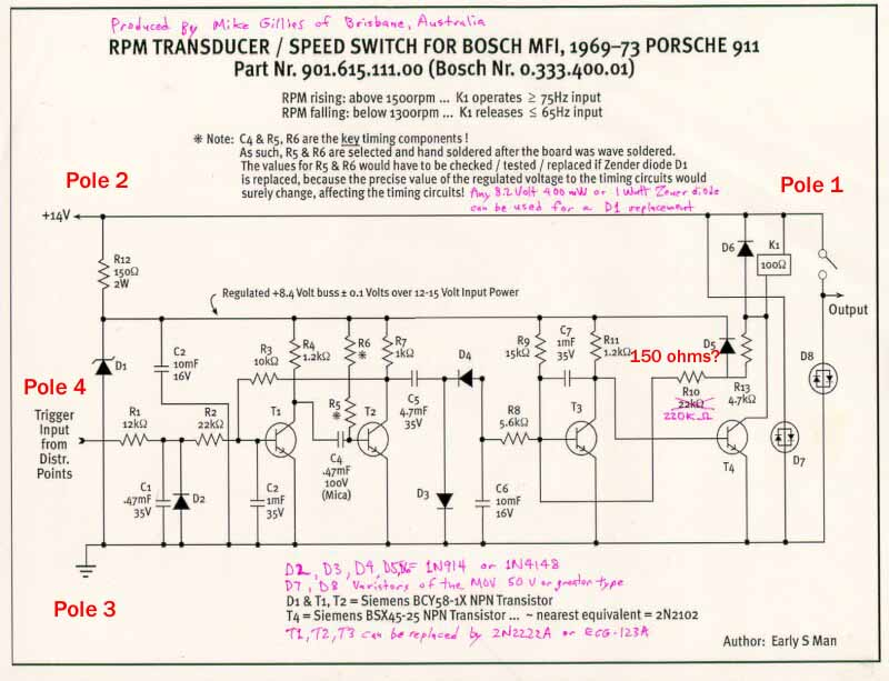 mfi simplification project help wanted page 2 pelican parts finally here is a simplified wiring diagram for the micro switch and rpm transducer