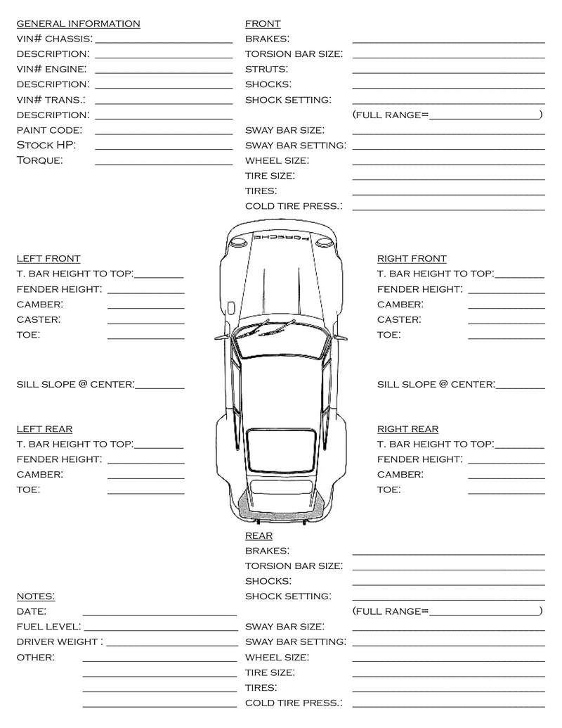 car set-up  info sheet