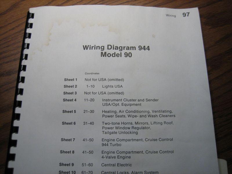 Fs  Porsche 944 951 944s2 Wiring Diagram 1990