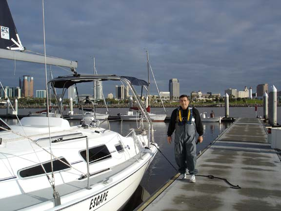 ... of me in Long Beach leaving for a winter sail on an '08 Hunter 31'