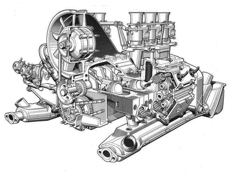 exploded drawing  specs 911 engine