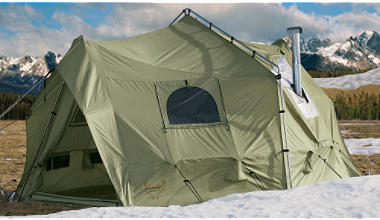... tent with a wood stove but considering what this costs new it seems like a bargain. Cabelau0027s web site lists the weight at 61 pounds. & Is there a reasonably priced fairly large tent thatu0027s 100% water ...
