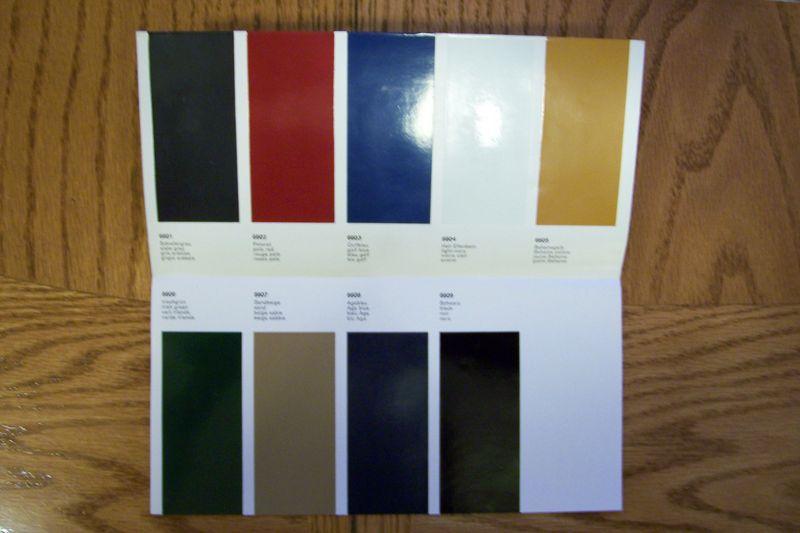 Porsche Color Charts 66 Amp 68 911 Amp 912 Pelican Parts