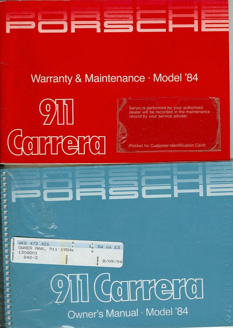 1984 porsche 911 carrera owners manual maintenance warranty manual rh forums pelicanparts com 1984 Porsche 911 Carrera Cabriolet Turbo Look 2002 Porsche 911 Carrera
