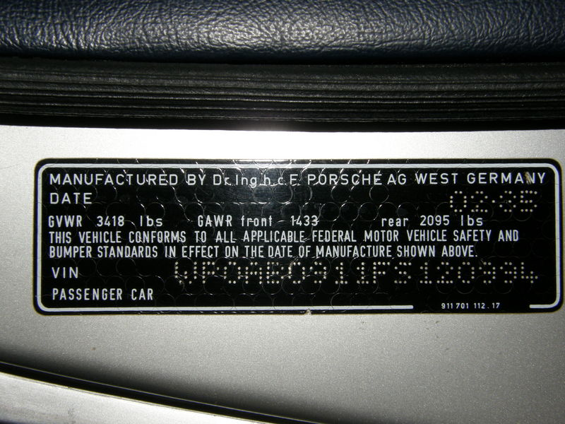 Vin Locations For A 1988 911 Pelican Parts Forums