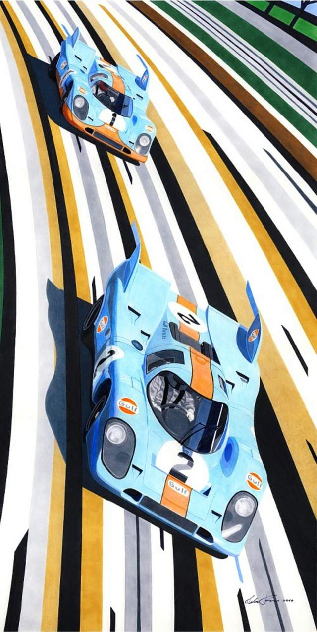Two Gulf Porsche 917's drawing