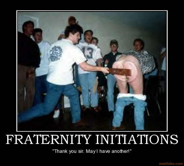 initiation or incarceration hazing in fraternities 4 ex-fraternity members get jail in pledge's hazing death  repeatedly tackled  as part of the fraternity's crossing over initiation ceremony.
