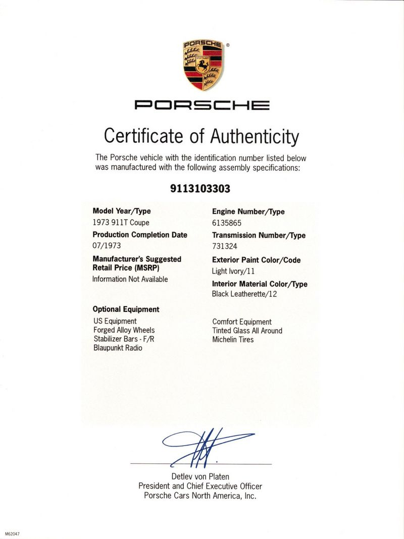 Porsche Certificate Of Authenticity 2019 2020 Car