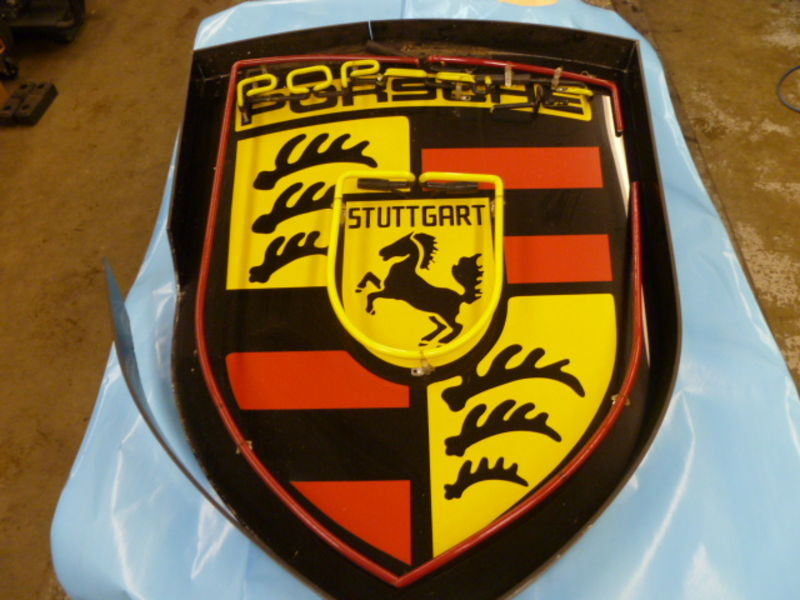 Fs Large Porsche Crest Neon Sign Damaged Pelican Parts