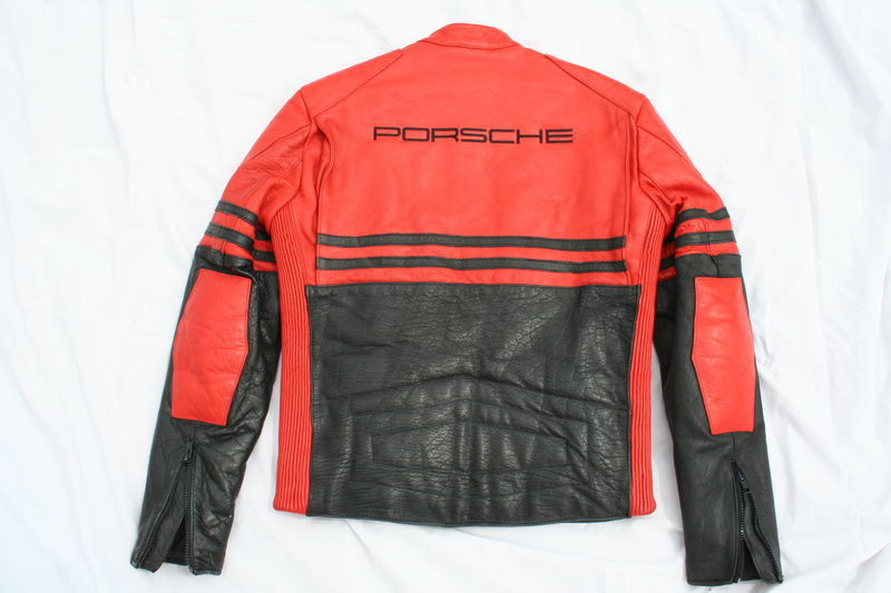 rare red leather team racing porsche logo jacket. Black Bedroom Furniture Sets. Home Design Ideas