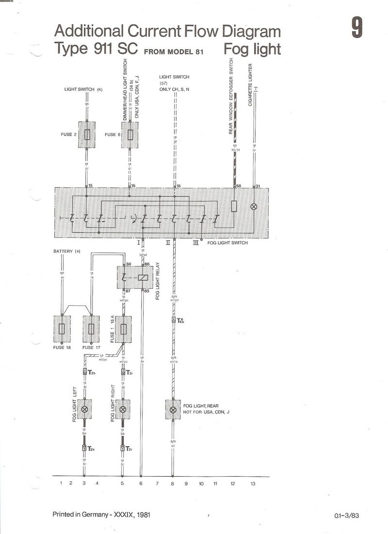 Porsche 911 Fog Light Wiring Diagram Library Us First Draw A Of Circuit With One Switch Here Is The 81 Factory Drawing For Your Lamp Note