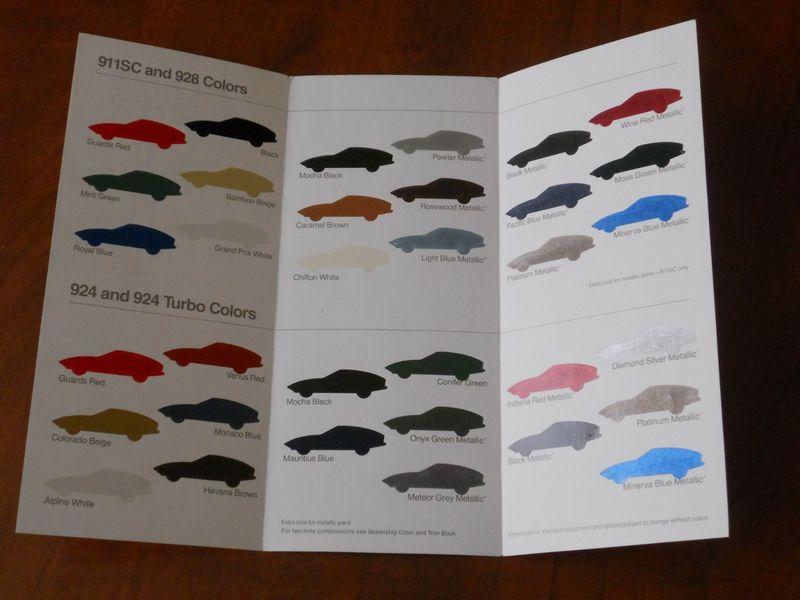 Fs  1981 Porsche Color Chart Brochure