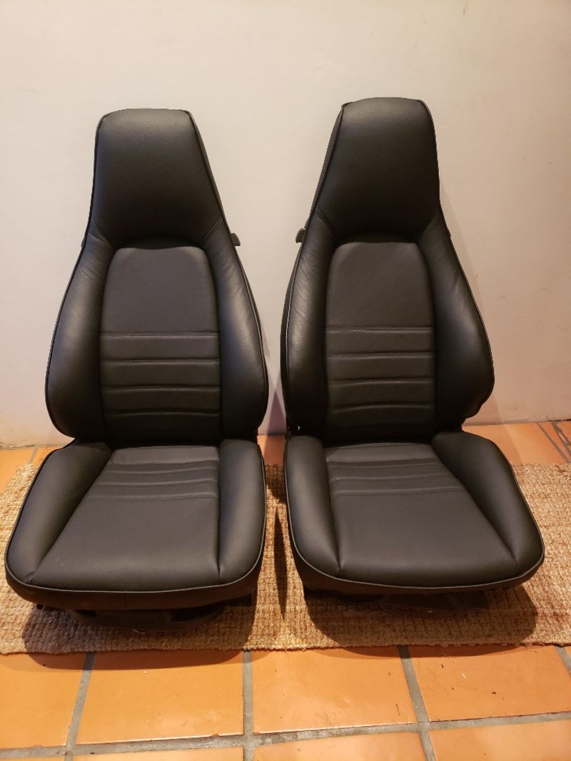 Black leather sports Seats (New Upholstered) - Pelican Parts