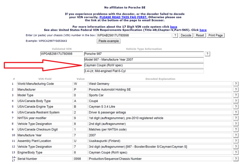 VIN decoder lists vehicle as ROW ??? - Pelican Parts Forums