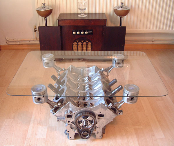 Who has built a flat six coffee table pelican parts for Car part coffee table