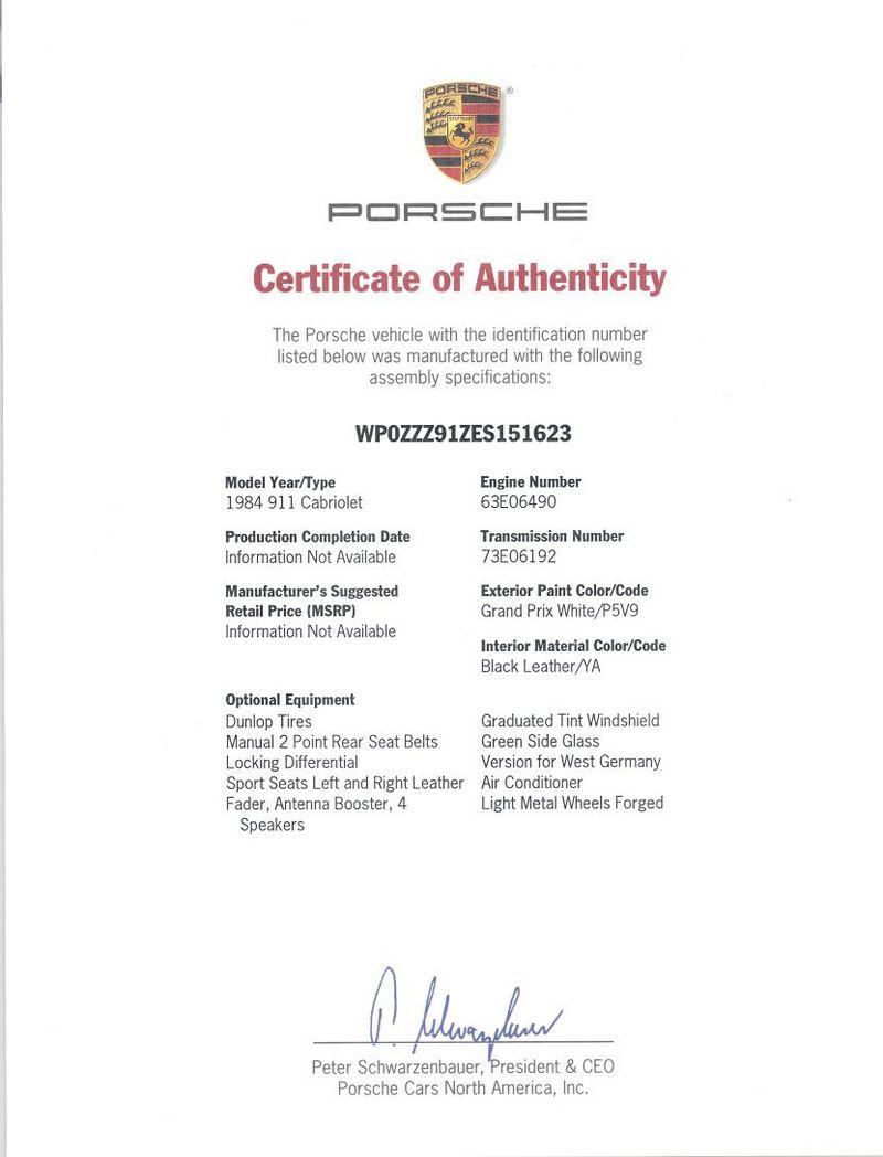 authenticity certificate porsche forums cabriolet gp 1984 row