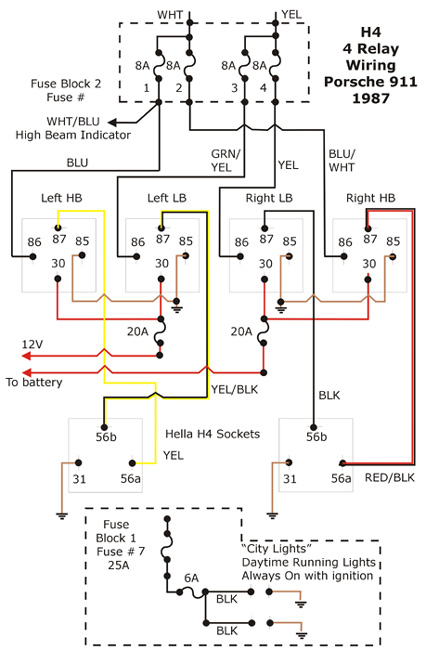 H4 Conversion - 4 Relay Wiring Diagram